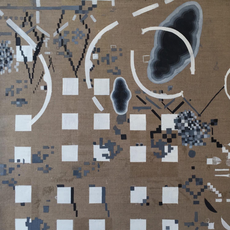 A.I Ok (detail) 2016 | Oil and egg tempera on linen | 150 x 300 cm