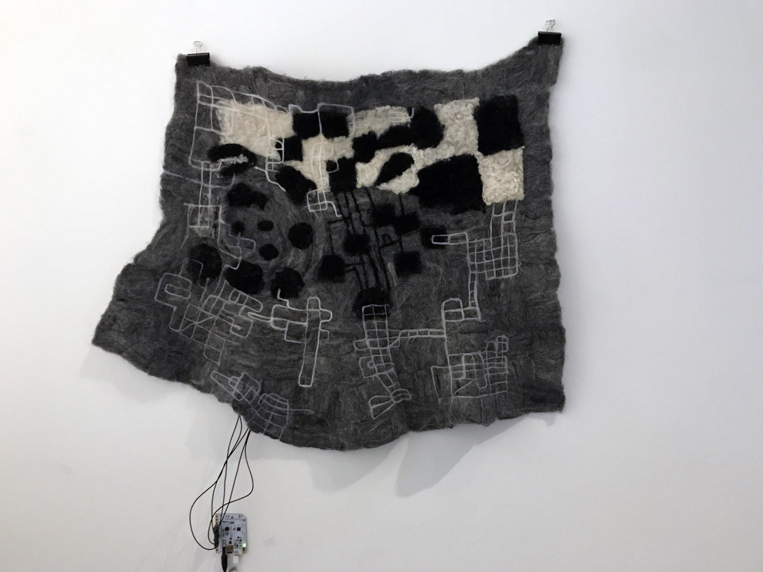 Felt 2017 | Merino wool, stainless steel fibre, micro controller, speaker | Dimensions variable (felt piece 33 x 74 cm)