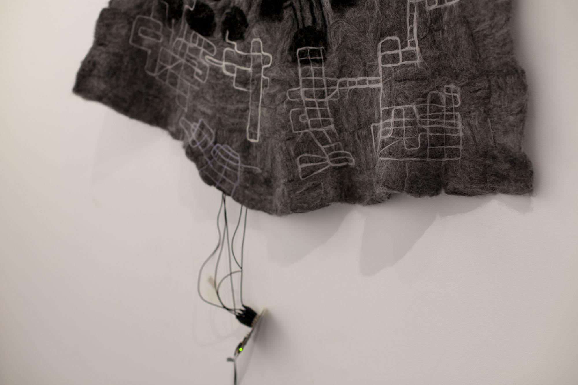 Felt (detail) 2017 | Merino wool, stainless steel fibre, micro controller, speaker | Dimensions variable (felt piece 33 x 74 cm)