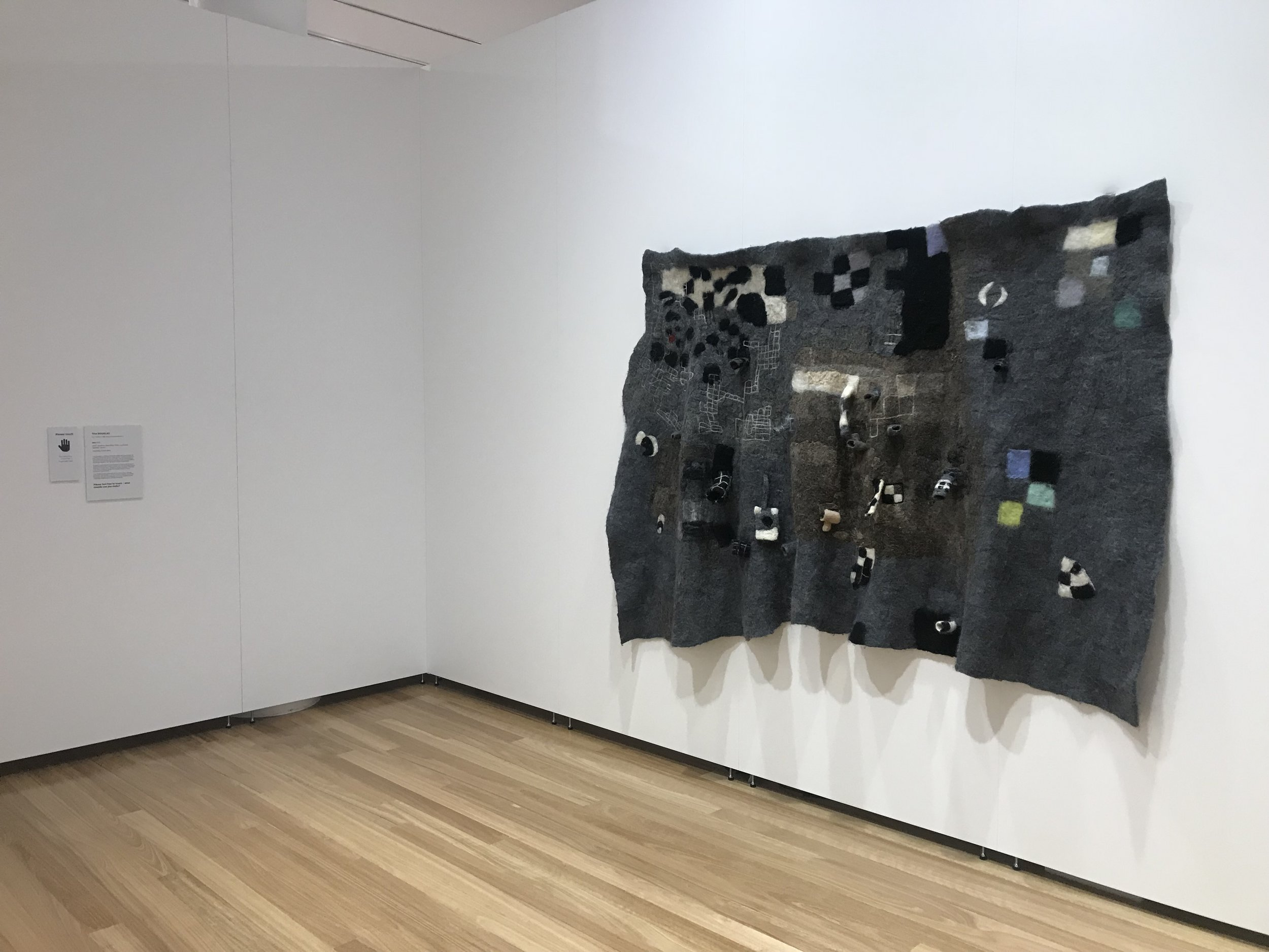 Felt (installation view) 2017  Wool, stainless steel fibre, micro controllers, speakers, sound.  260 x 140 cm  Let's Play: Art of our time, Bunjil Place Gallery