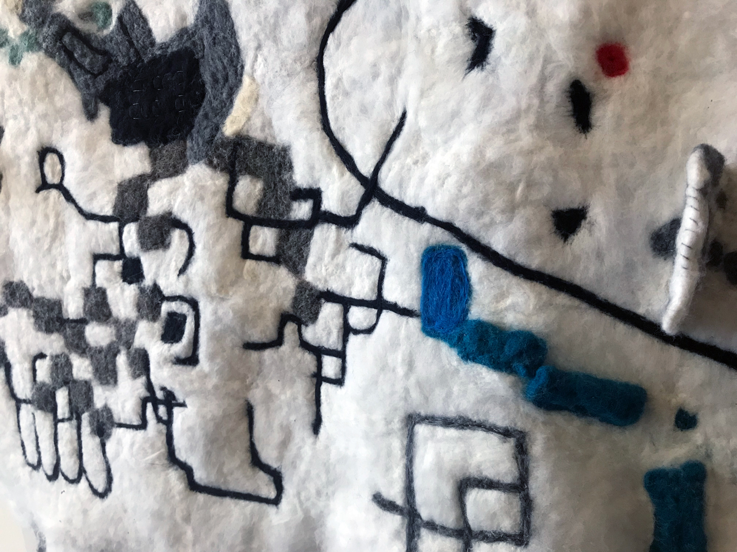Tina Douglas fuzzy logic 2018, hand felted wool, stainless steel fibre, micro controllers, speakers, sound, painted ply, 91 x 91 cm, detail.