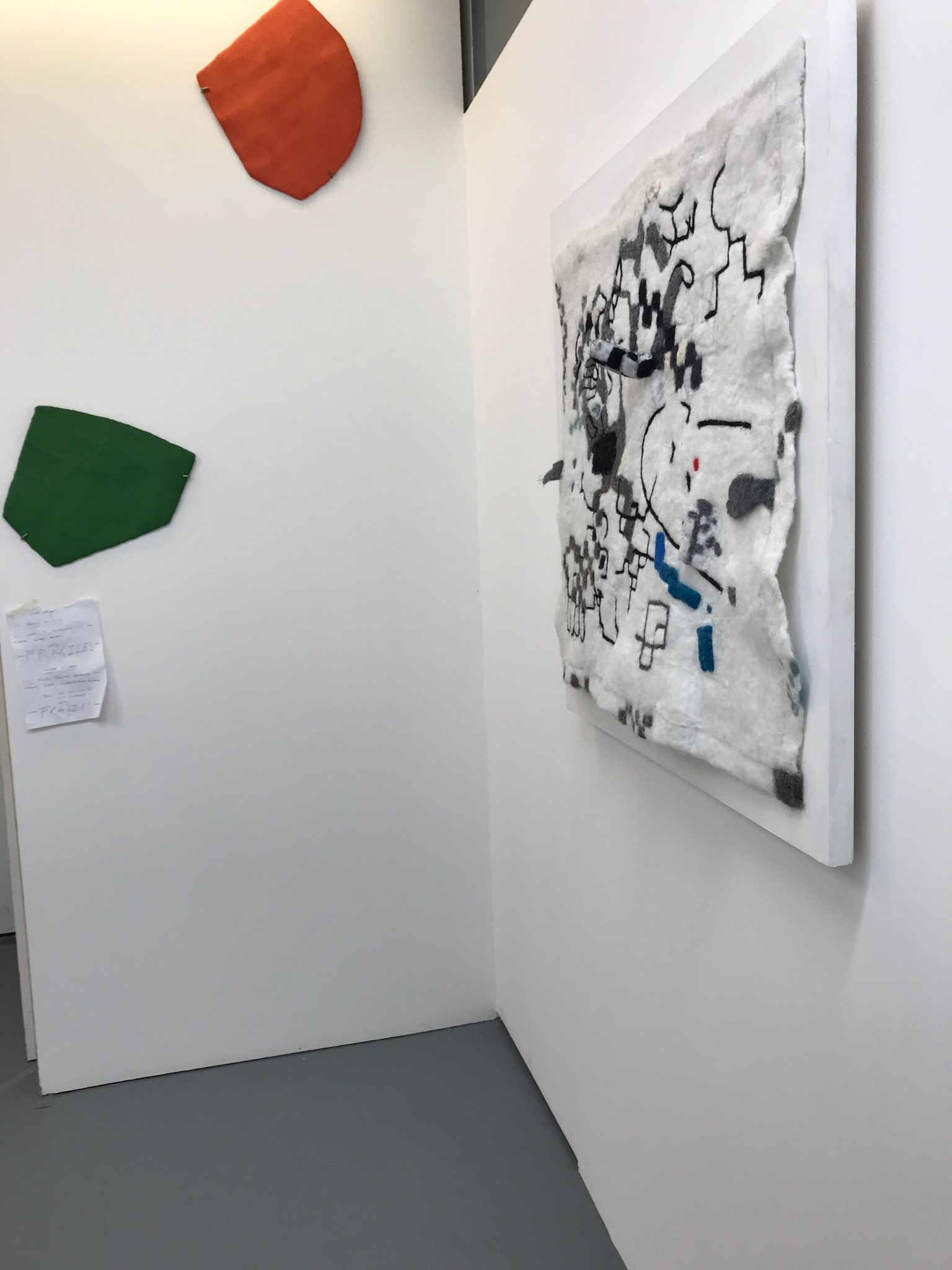 Tina Douglas fuzzy logic 2018, hand felted wool, stainless steel fibre, micro controllers, speakers, sound, painted ply, 91 x 91 cm, installation view