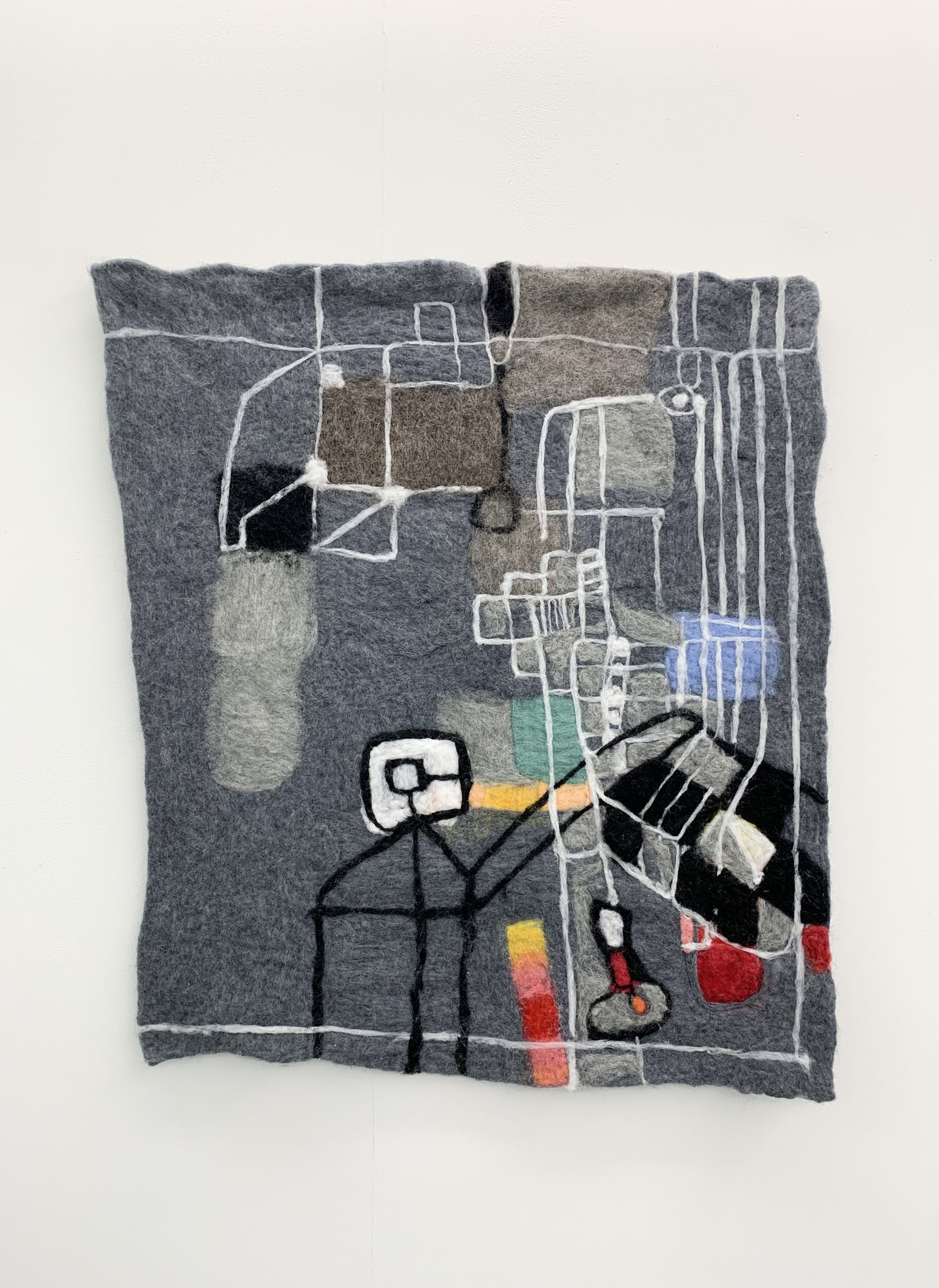 Sos 2019 wool, stainless steel fibre, electronics, sound 92 x 80 cm