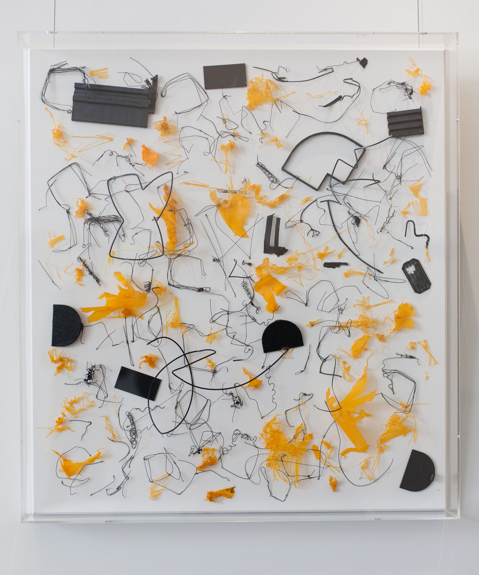Tina Douglas, harsh 2019, 3D printed plastic errors on ragboard, 60 x 55 x 6 cm with acrylic box