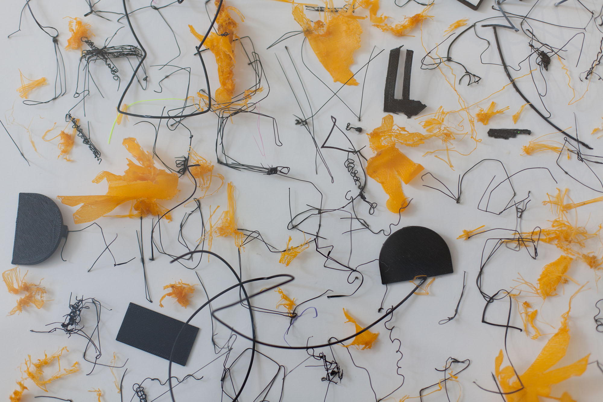 Tina Douglas, harsh 2019, 3D printed plastic errors on ragboard, 60 x 55 x 6 cm with acrylic box (detail)