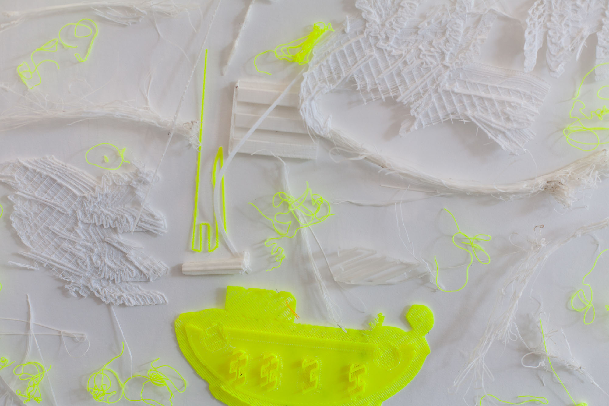Tina Douglas, prickly 2019, 3D printed plastic errors on ragboard, 60 x 55 x 6 cm with acrylic box (detail)