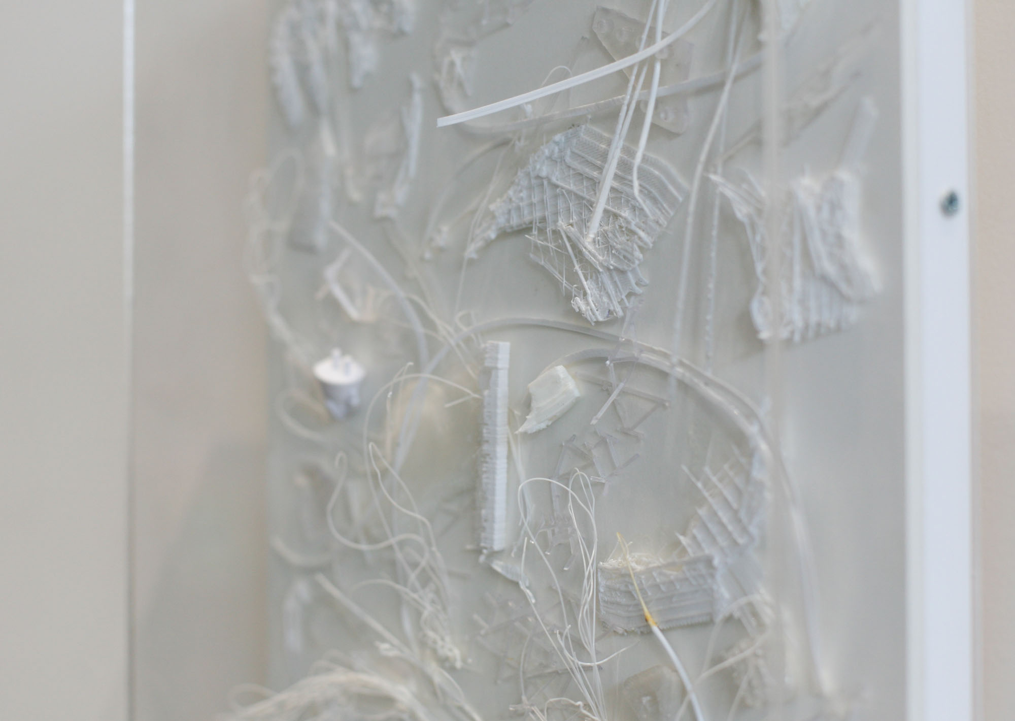 Tina Douglas, spiky 2019, 3D printed plastic errors on ragboard, 37.6 x 28.5 x 6 cm with acrylic box (detail)