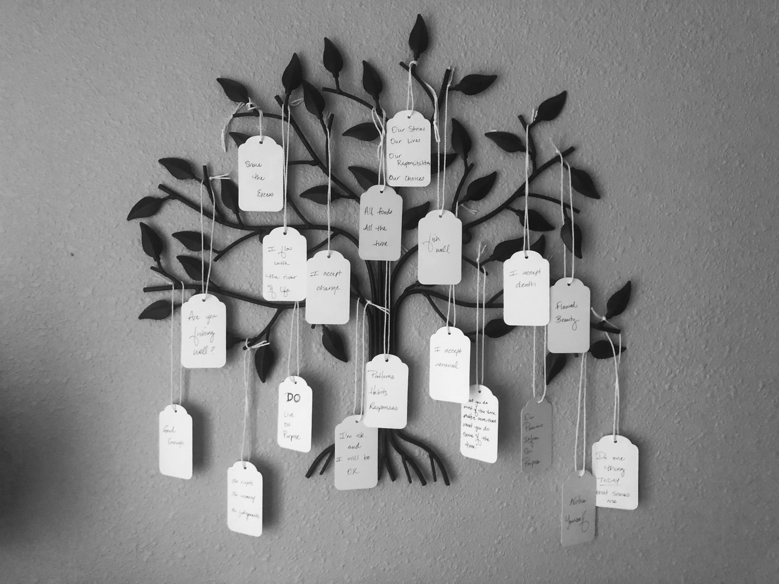 My mantra tree, my Can-Do-Life notes. I call it my Spirit Tree. Also, the next children's book I'm working on.