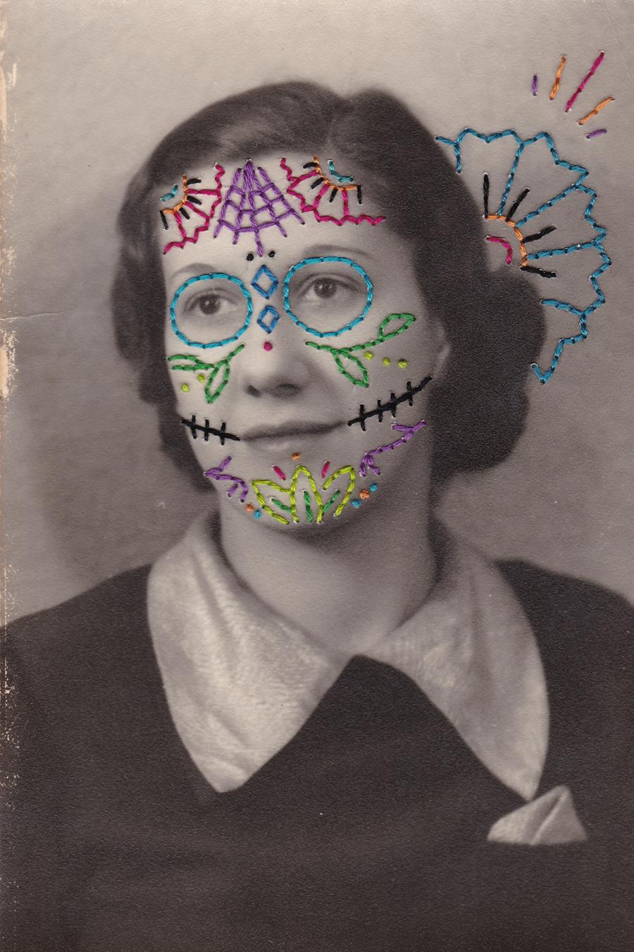 Sugar skull-inspired lady.