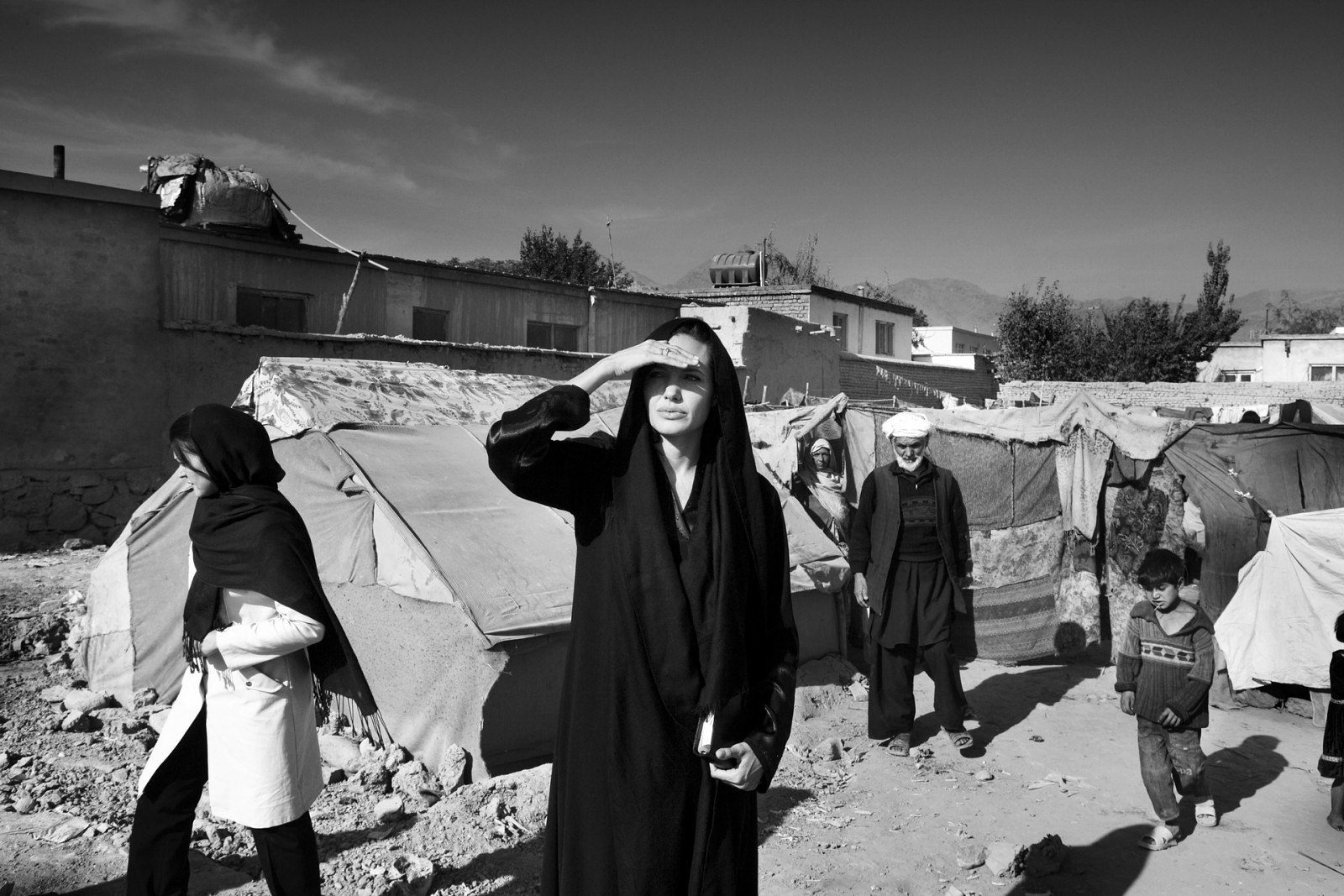 Taken by  Marco Di Lauro  during Angelina's trip to Afghanistan