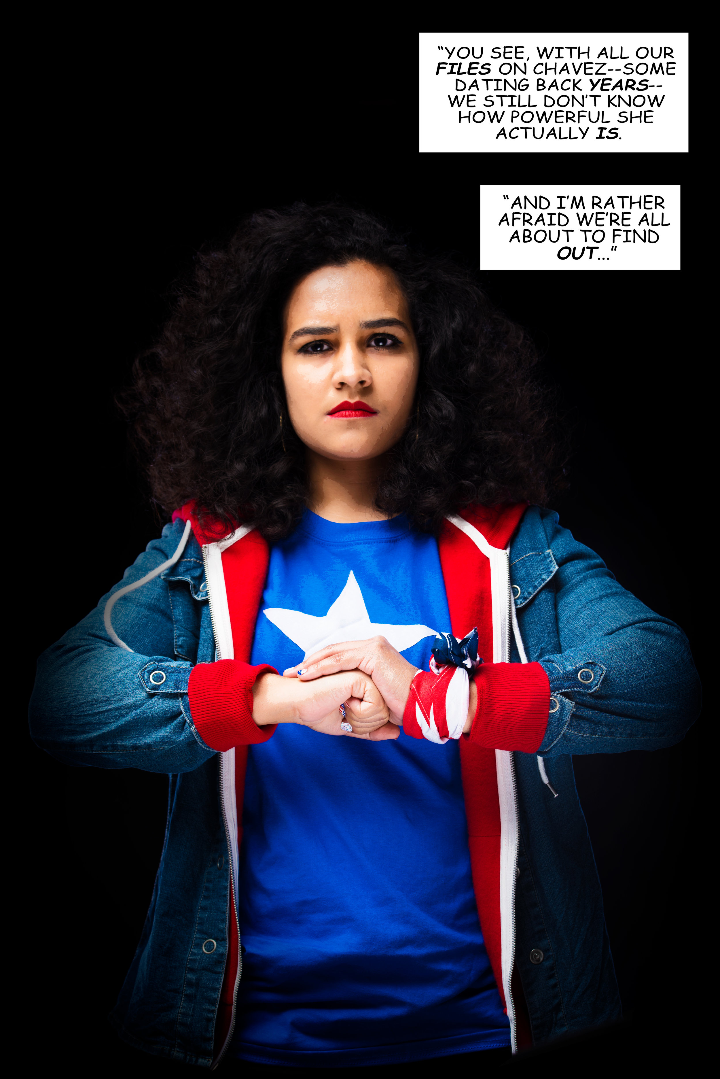 America Chavez Cosplay Comic Cover by Maacah Davis