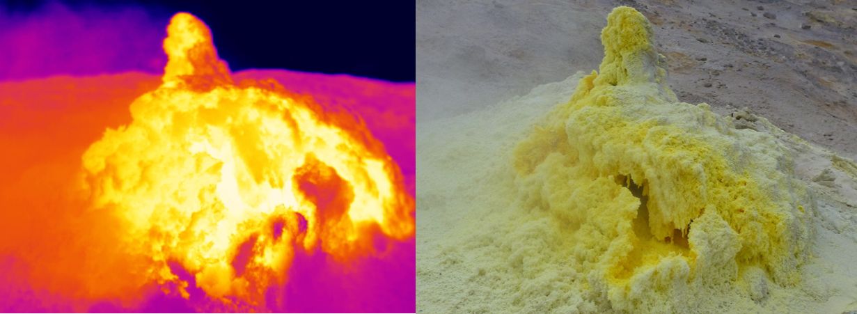 An active fumarole on Tacora seen in the infrared and visible