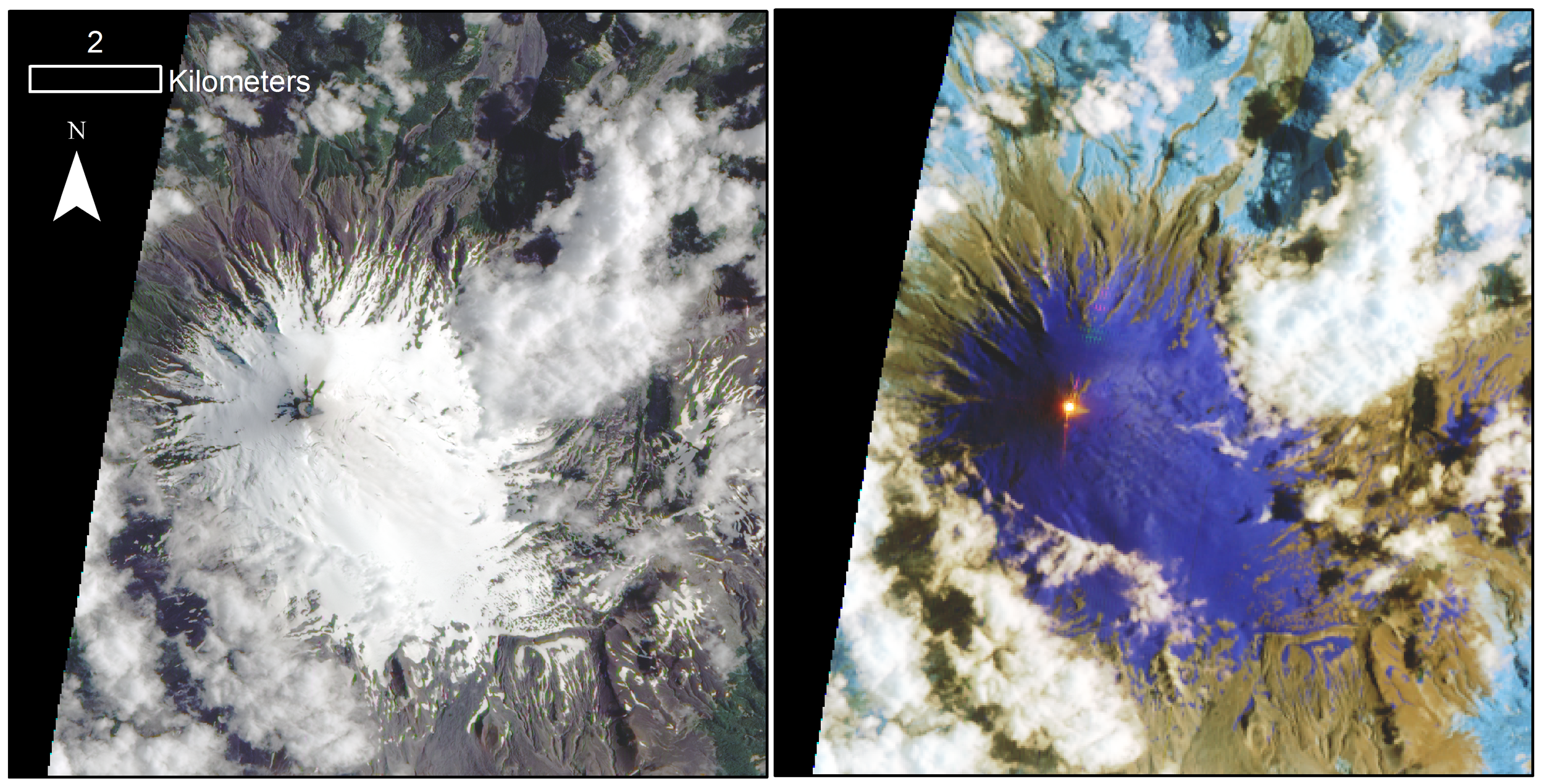 EO-1 image acquires on the 16th Januray 2016. The Earth Observing-1 (EO-1) spacecraft is managed by NASA's Goddard Space Flight Center, Greenbelt, Maryland. EO-1 is the satellite remote-sensing asset used by the  EO-1 Volcano Sensor Web (VSW) , developed by NASA's Jet Propulsion Laboratory, Pasadena, California, which is being used to monitor volcanic eruptions around the world.