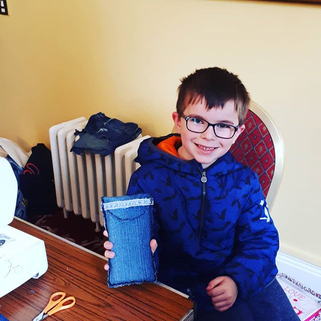 This little chap had a go at making a phone cover for his Mum. #upcyclingdenim