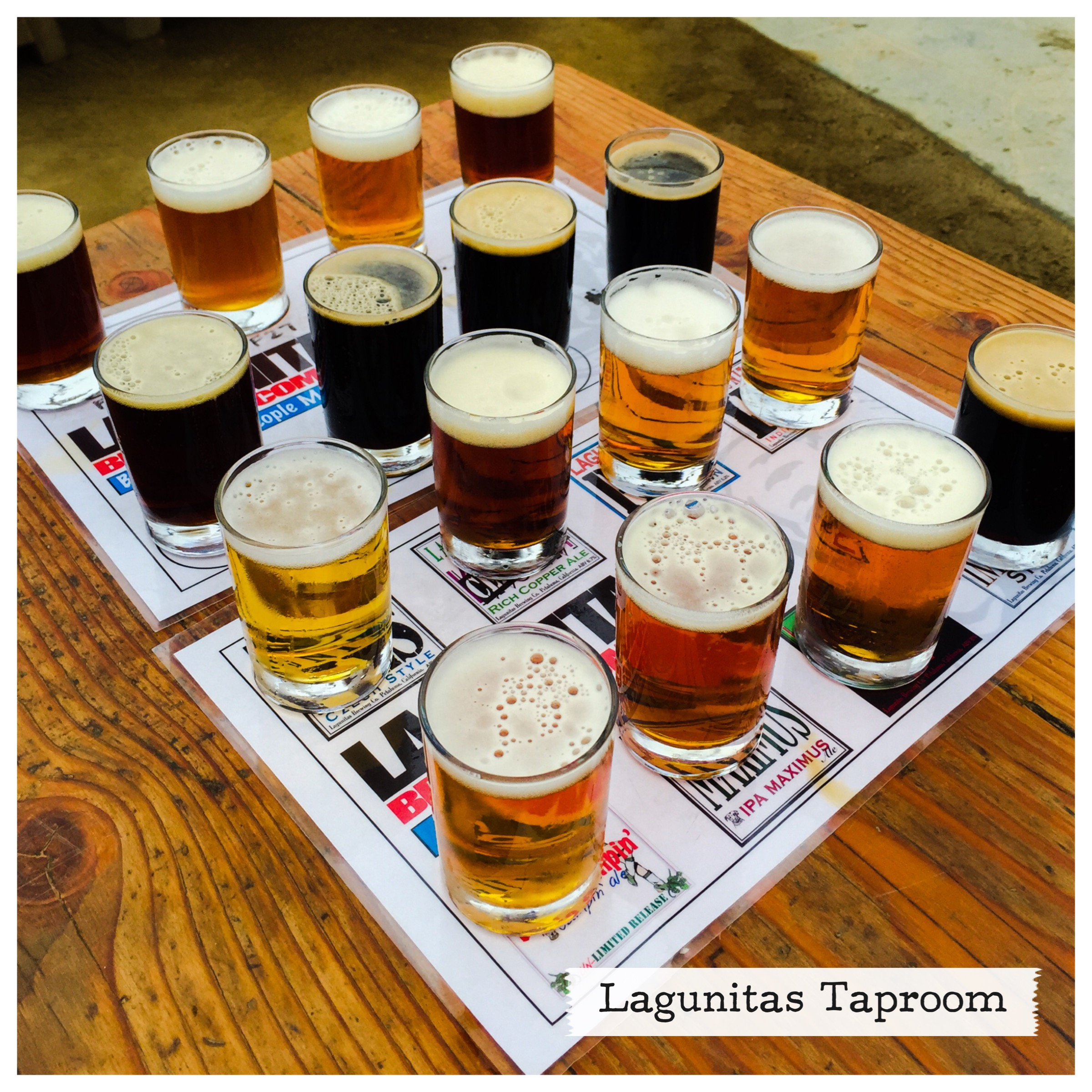 Beer flight at Lagunitas Taproom in Petaluma