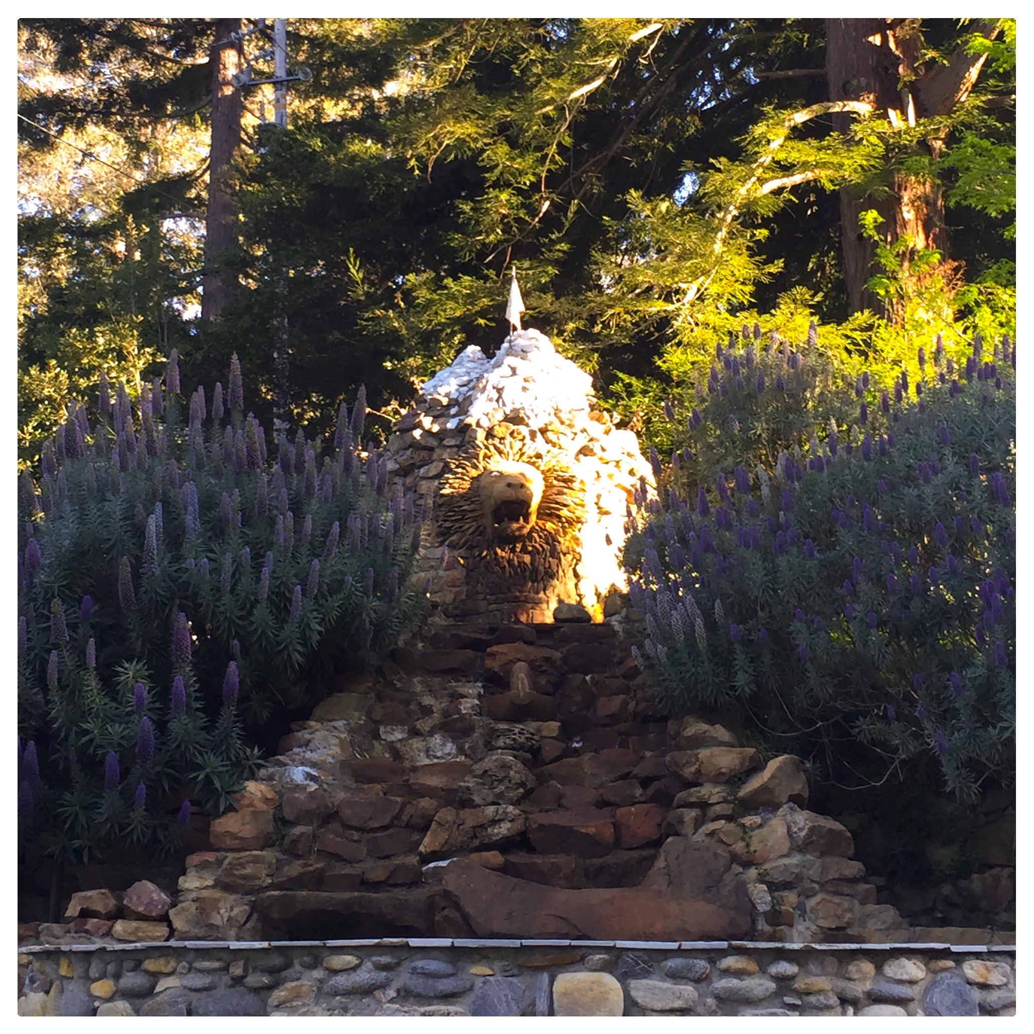 Rock sculpture along the grounds
