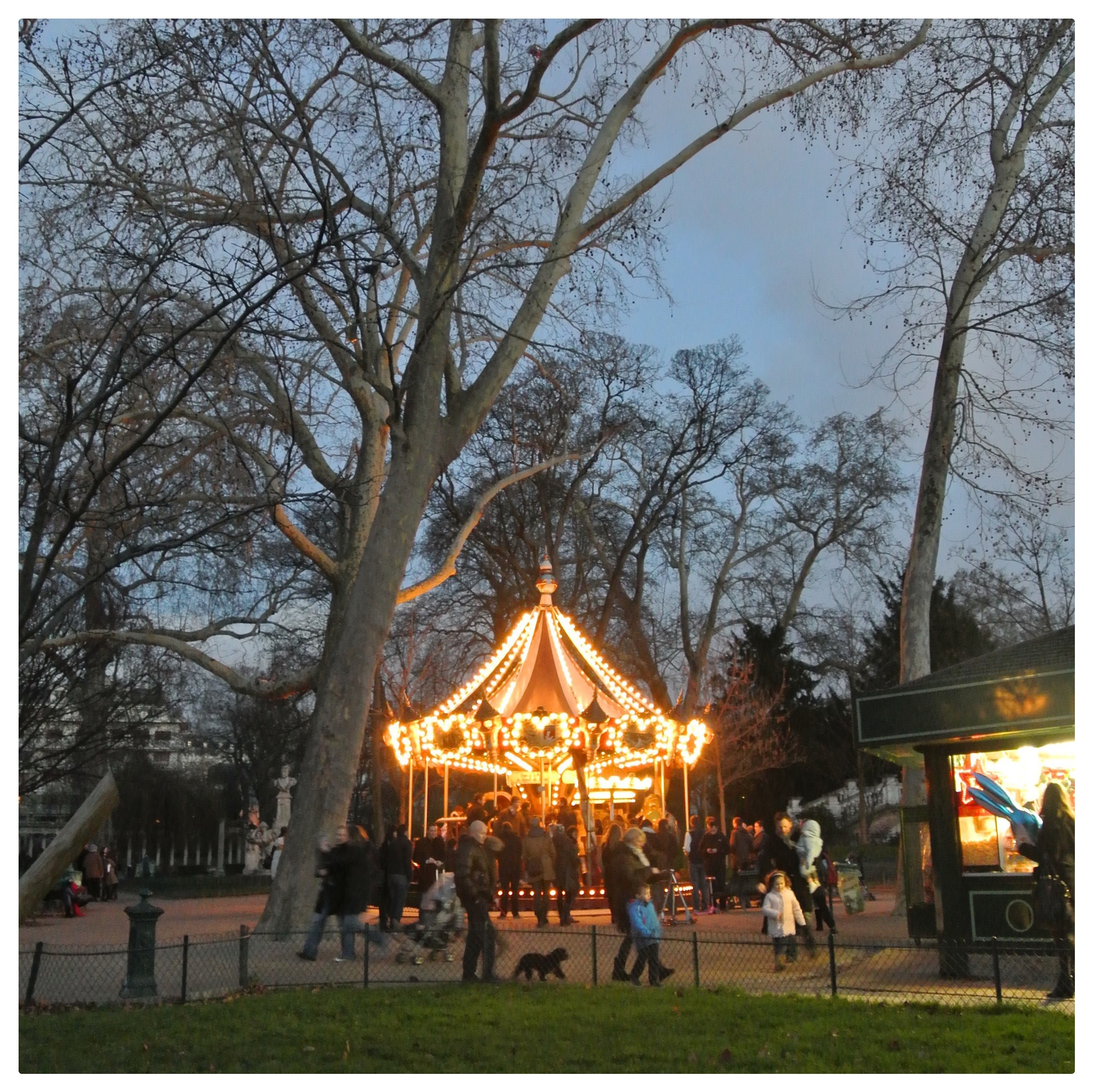 Beautifully lit Carousel at  Parc Monceau