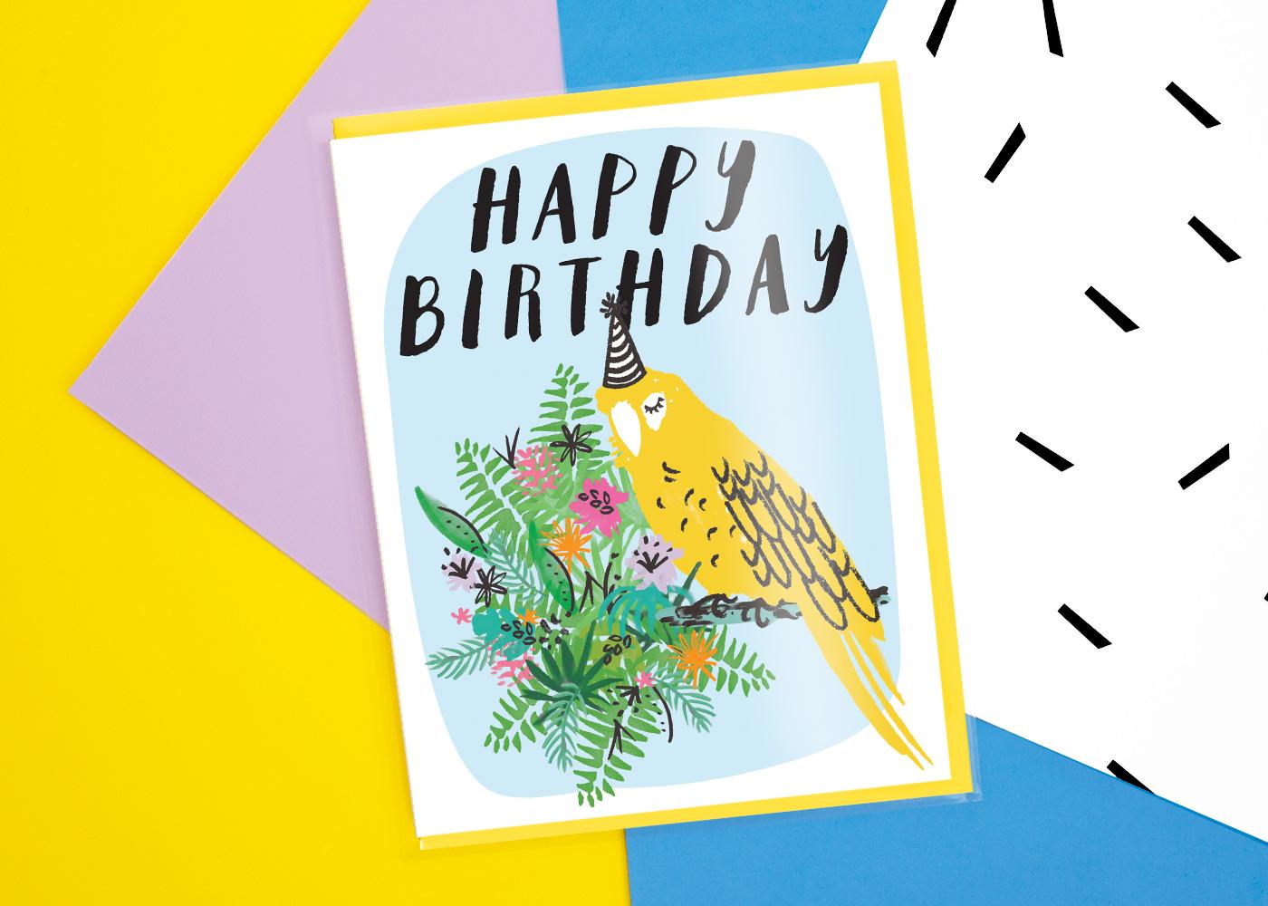 Lark+Raven Happy Birthday Party Parrot Greeting Card