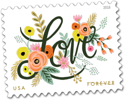 USPS Forever Stamp - Love Flourishes 2018