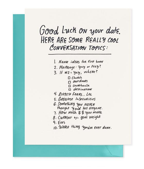Chipper Things Good Luck On Your Date Greeting Card