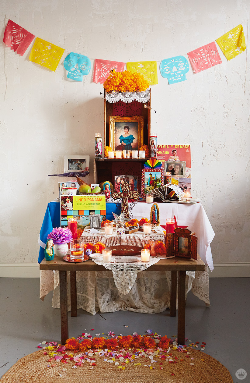 Day of The Dead Altar with Papel Picado Banner