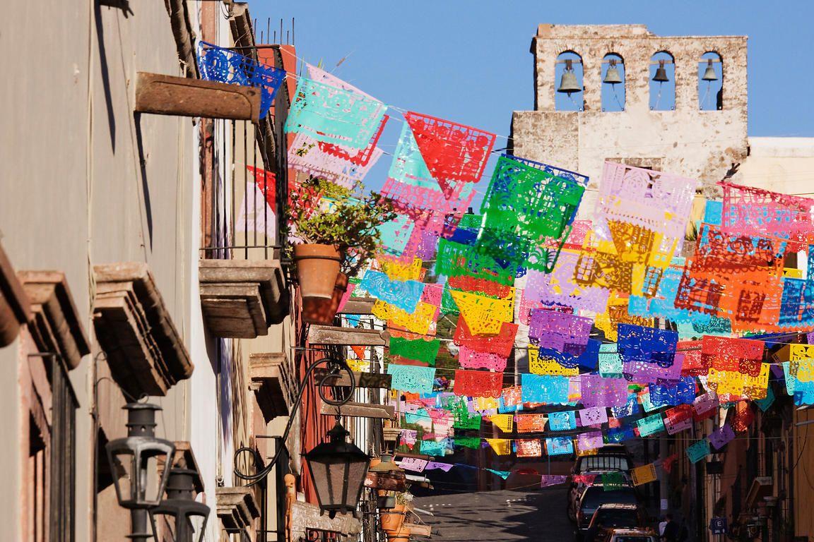 Papel picado banners in San Miguel de Allende