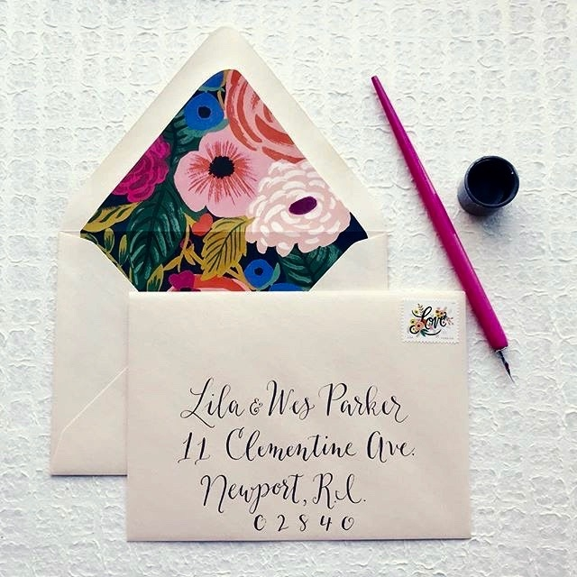 Rifle Paper Co. envelope liner + USPS Love stamp
