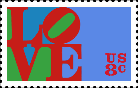 First USPS Love Stamp issued 1973