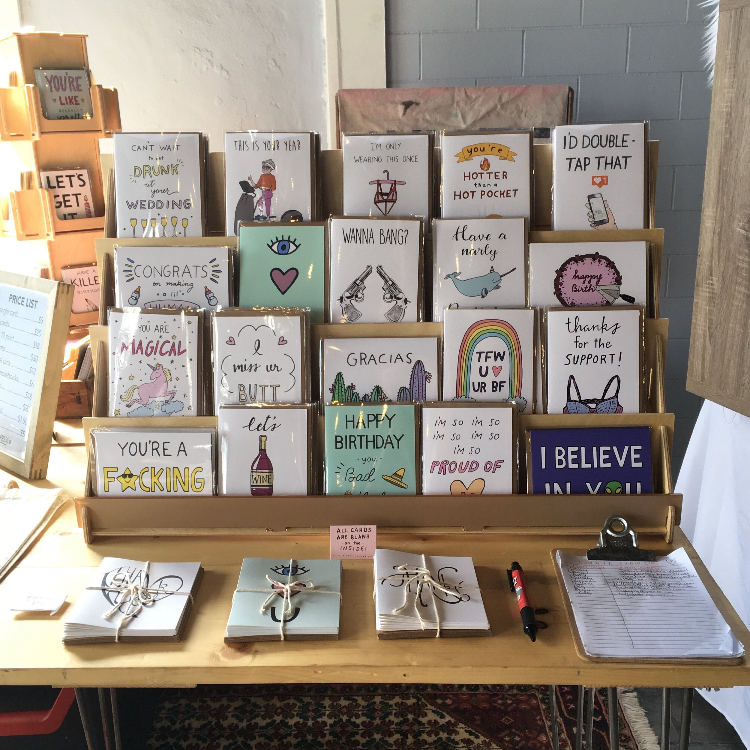 Aviate Press greeting card display at craft fair