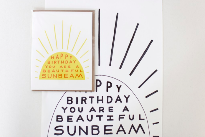 Kristen's design process from ink drawing to screen printed greeting card