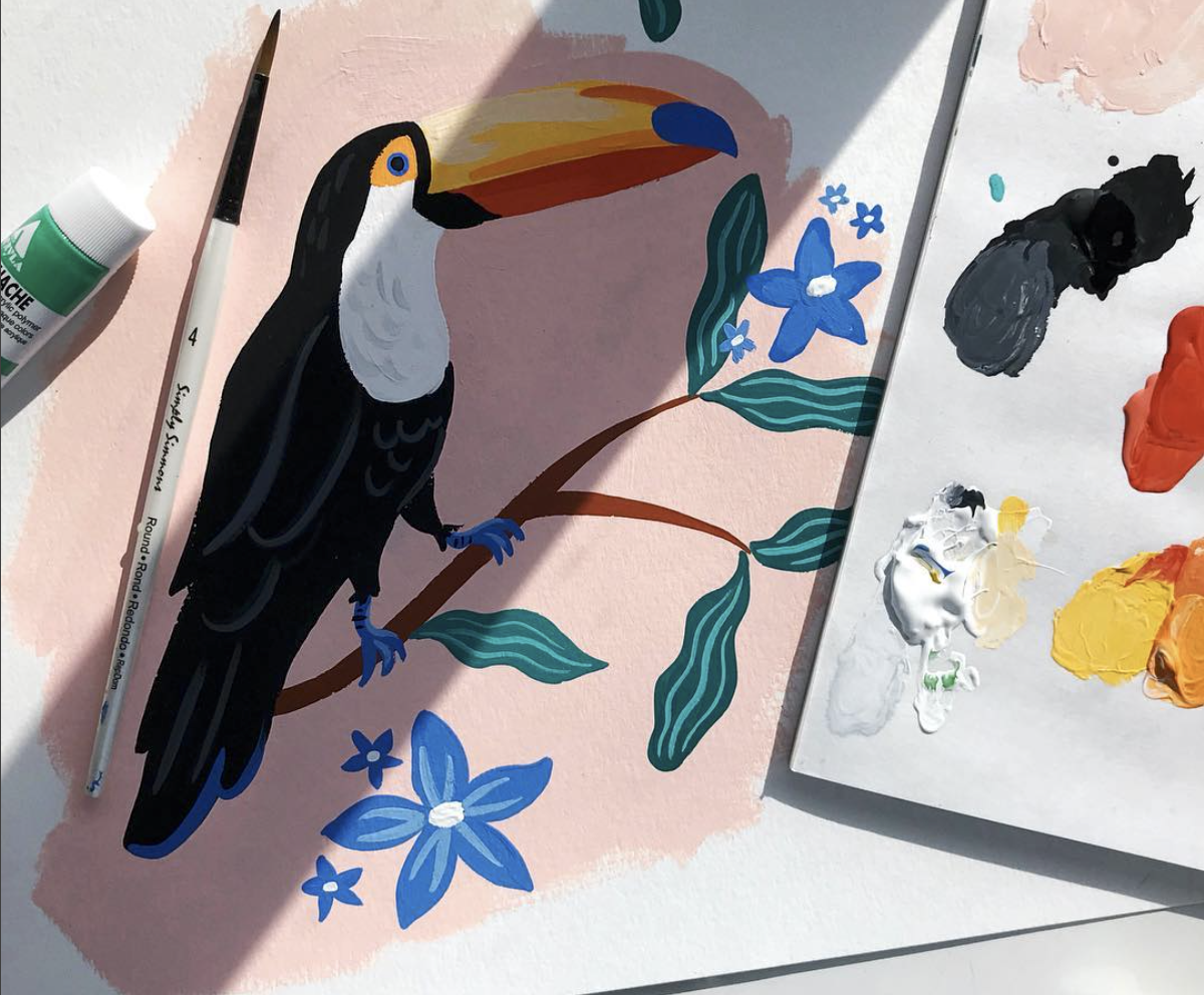 Katie Gastley painting toucan in gouache