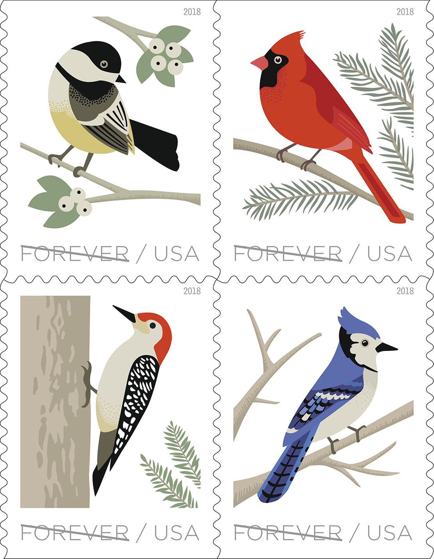 Birds in Winter Forever Stamps, released October 2018
