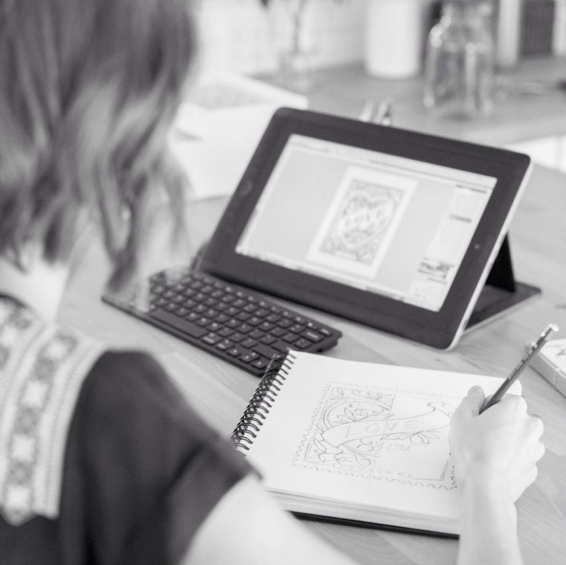 Amy Heitman sketching with Wacom tablet