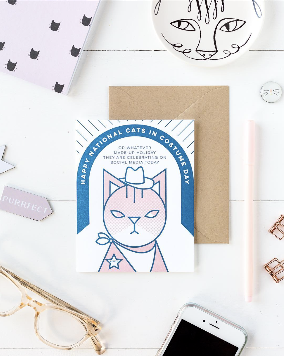 Happy National Cats in Costume Day greeting card by Paper Bandit Press