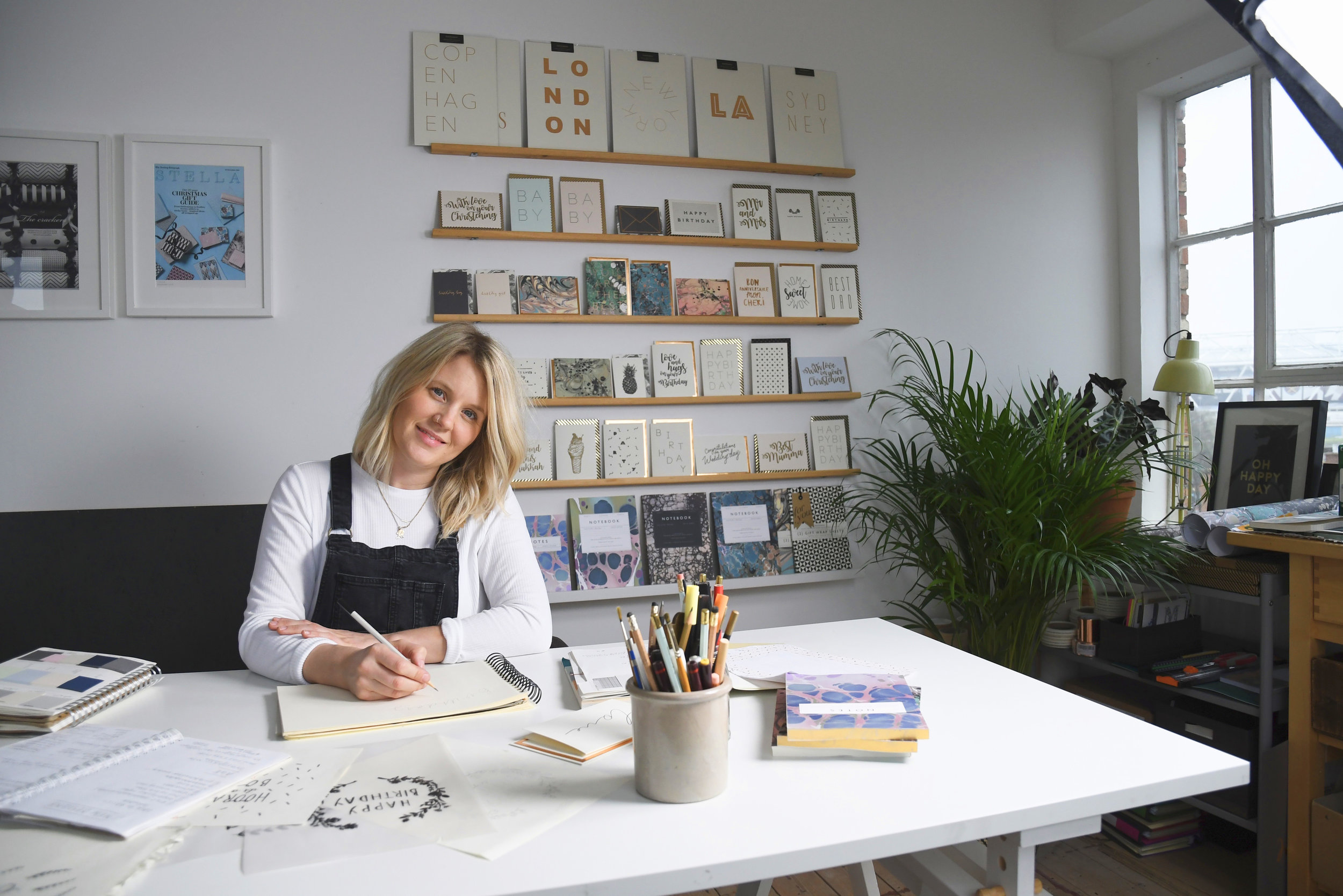 Katie Leamon in her London England stationery studio