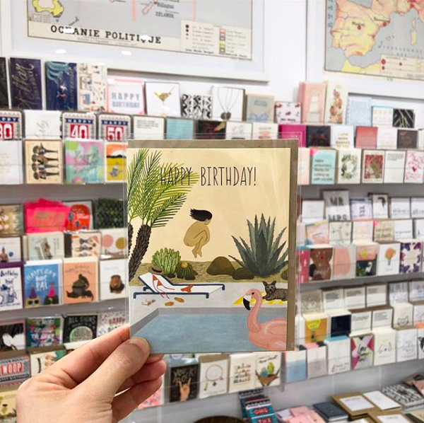 Yeppie Paper greeting card in an LA retail store display