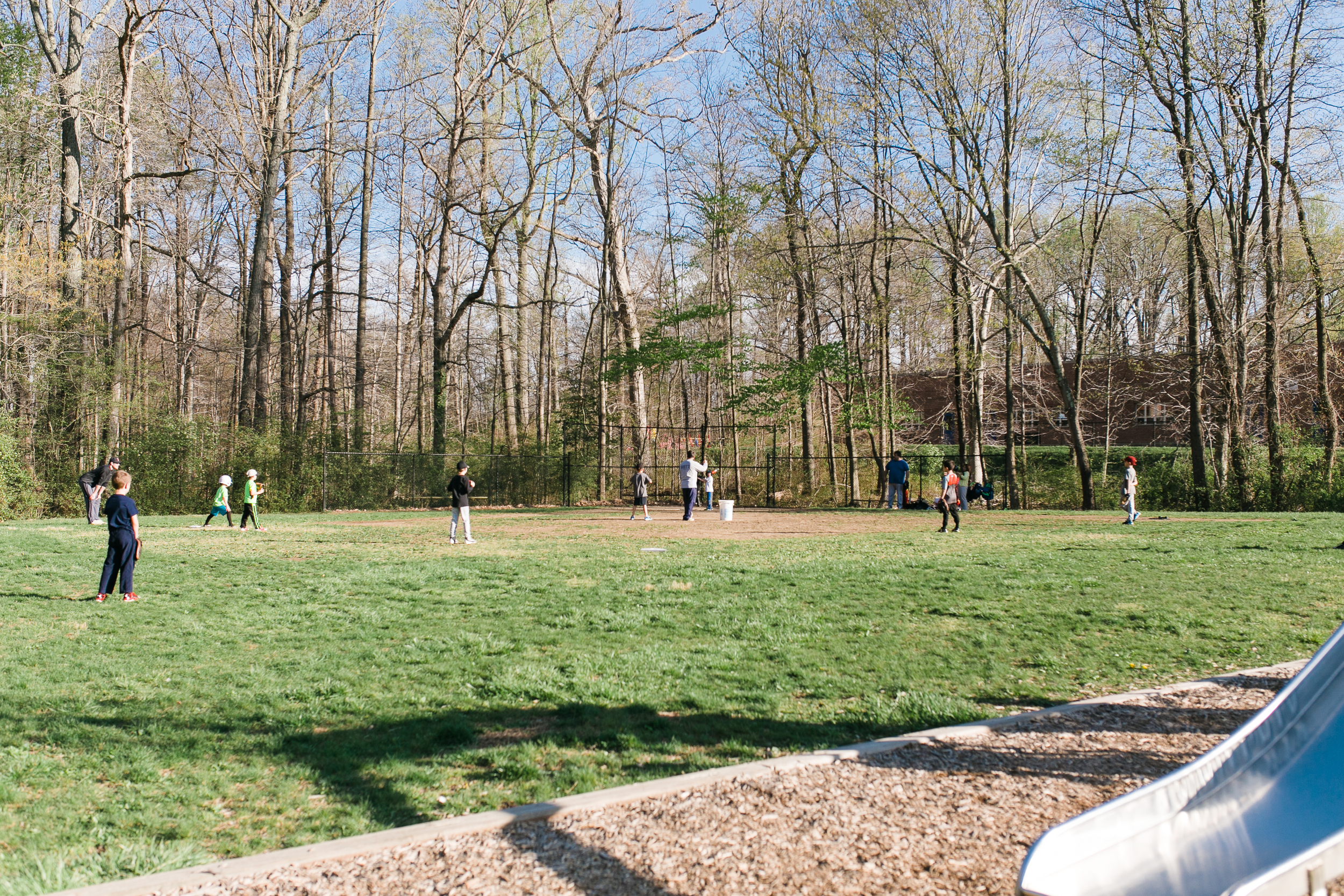 Kids practicing on the field at central elementary school
