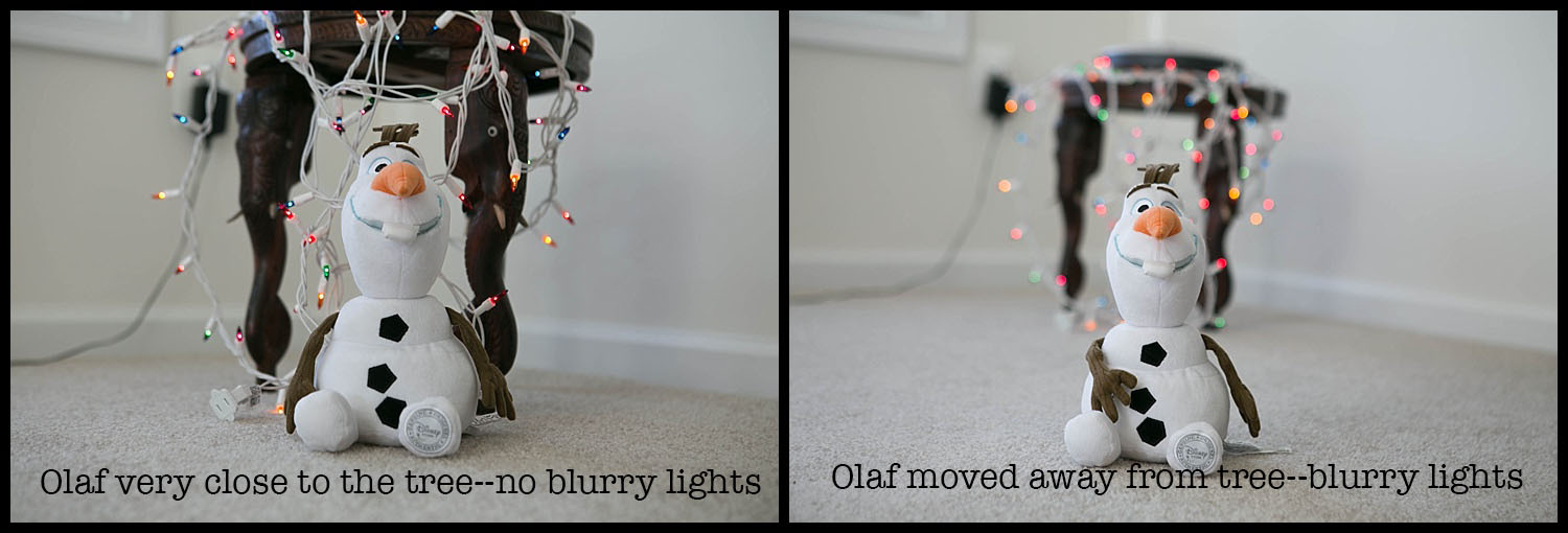 """when i moved olaf close to the """"tree"""" the lights become less blurry and twinkly.  in the second shot, he's a few feet away from the """"tree"""" and we get the blurry lights in the background."""