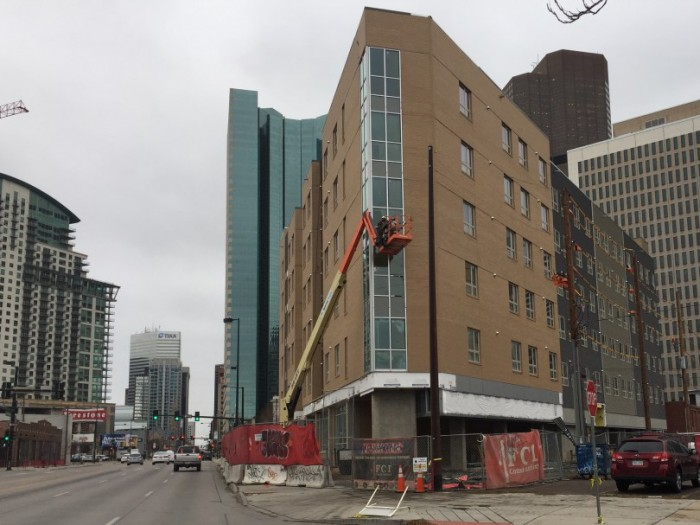 A 100-unit apartment building, under construction last fall in downtown Denver for the Colorado Coalition for the Homeless, part of Denver's social impact bond-funded homeless initiative. (photo courtesy Jon Murray of  The Denver Post )