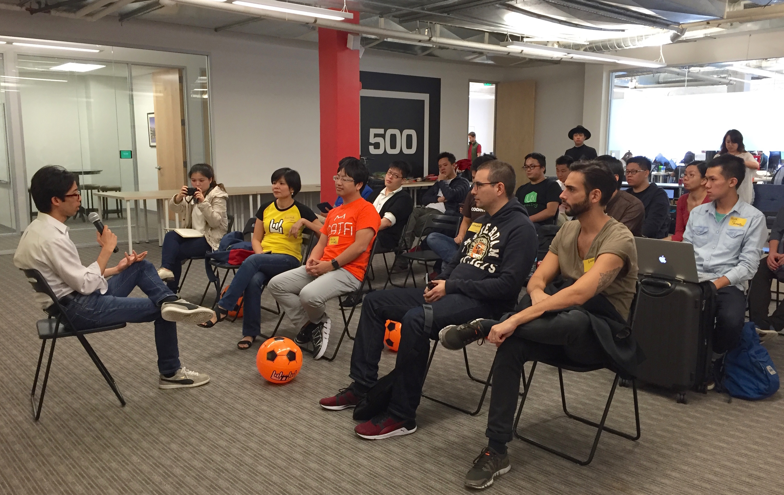 500 Startups Partner Marvin Liao addresses the 12 Taiwan startups visiting San Francisco for TechCrunch Disrupt SF 2015