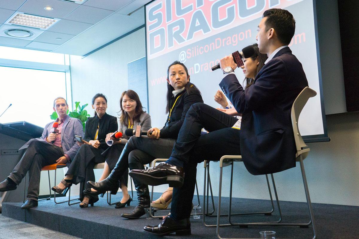 Tim Culpan (Bloomberg Gadfly), Vivian Wang (Sasson Capital Holdings), Heidi Huang (KPMG Taiwan), Carmen Chan (Click Ventures), Tina Cheng (Cherubic Ventures), Edward Chyau (Mesh Ventures)