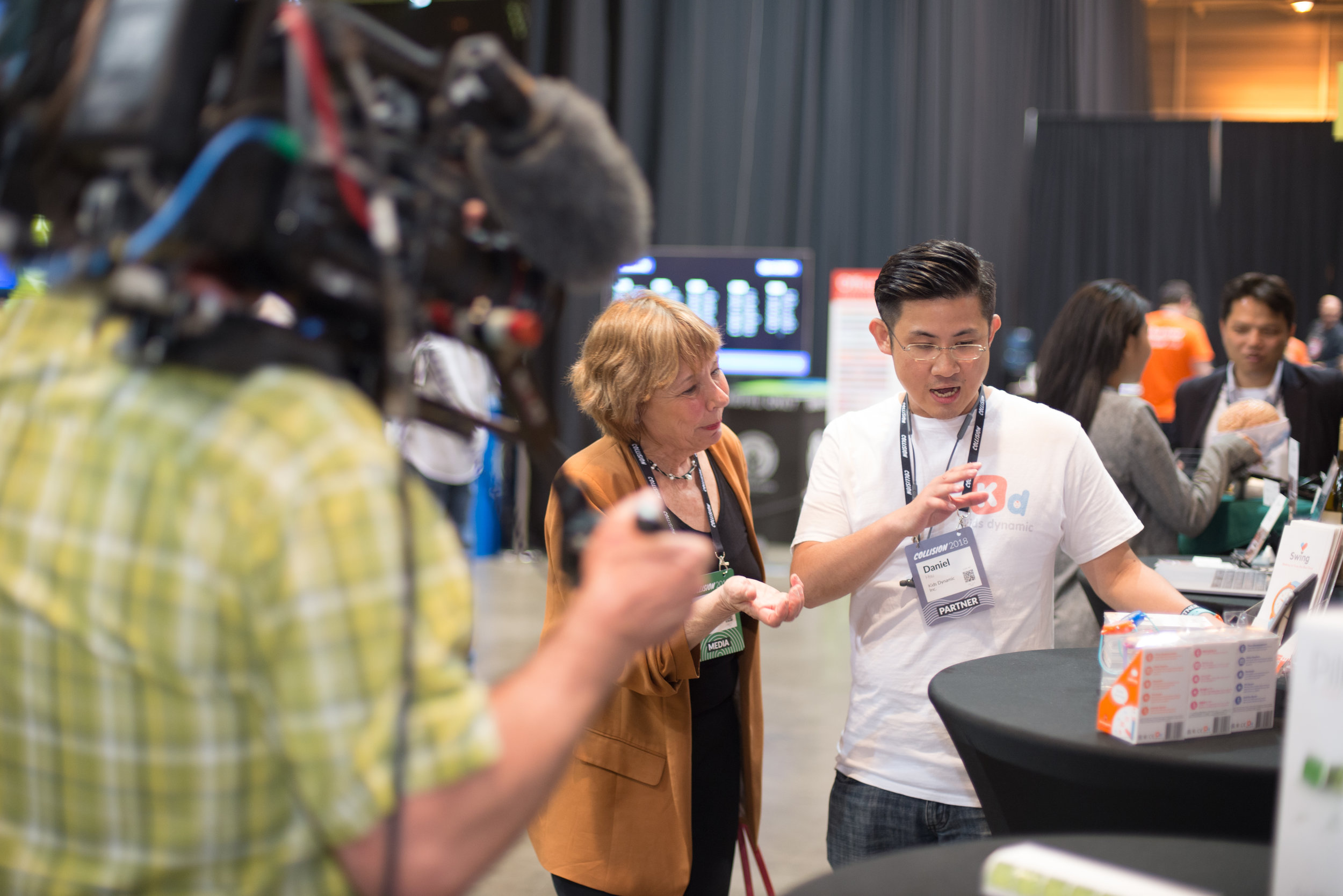 Kids Dynamics, one of the 2018 TSS USA trip startup team representative, being interviewed by journalist during Collision 2018, New Orleans
