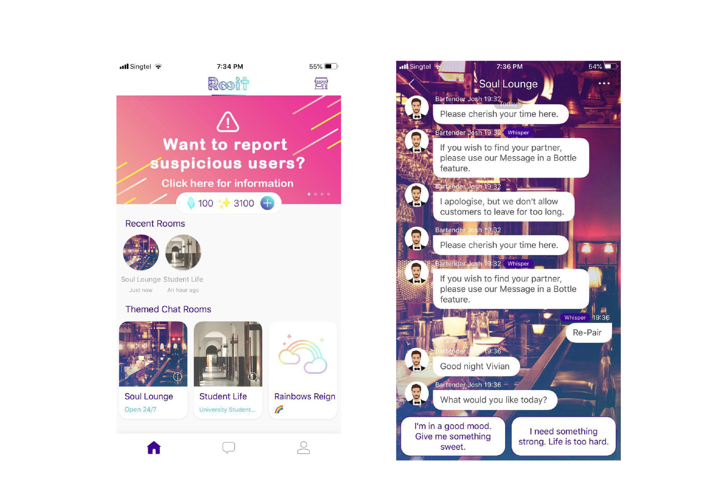 Different features & bartender-minded chatbot