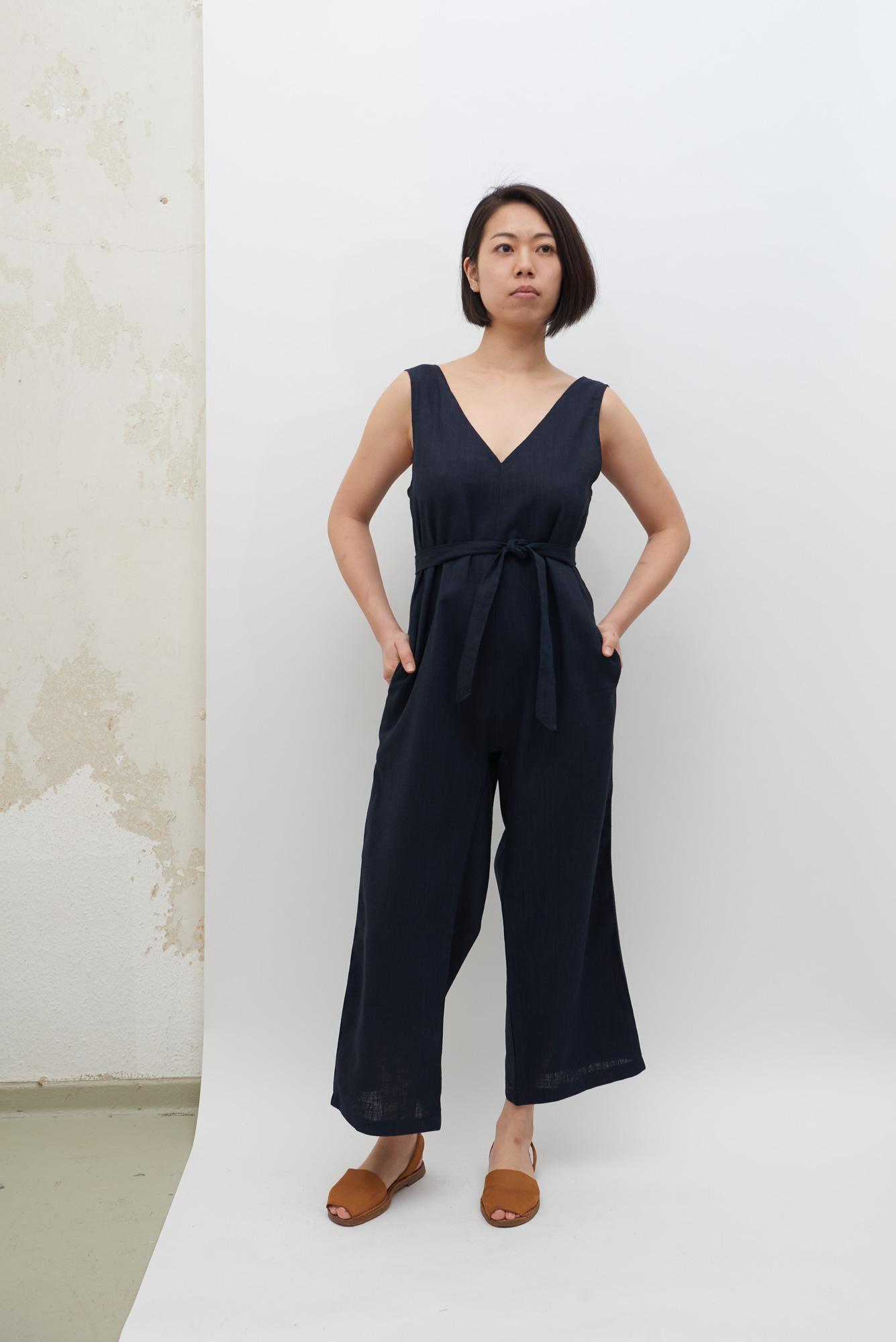Linen Jumpsuit - Navy