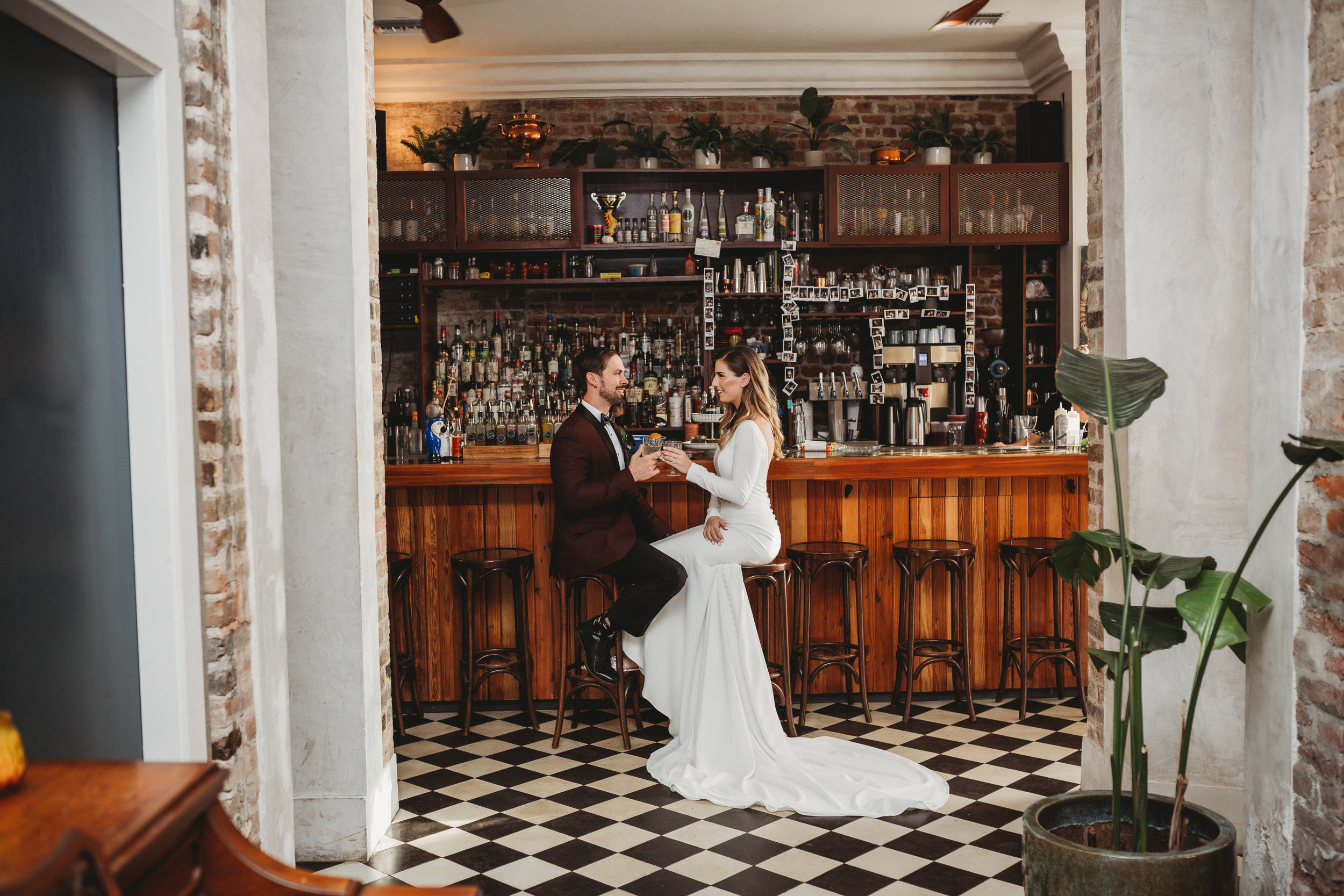 Catahoula Hotel Wedding Bride and groom share a drink at pisco bar New Orleans Wedding Photographer3039.jpg