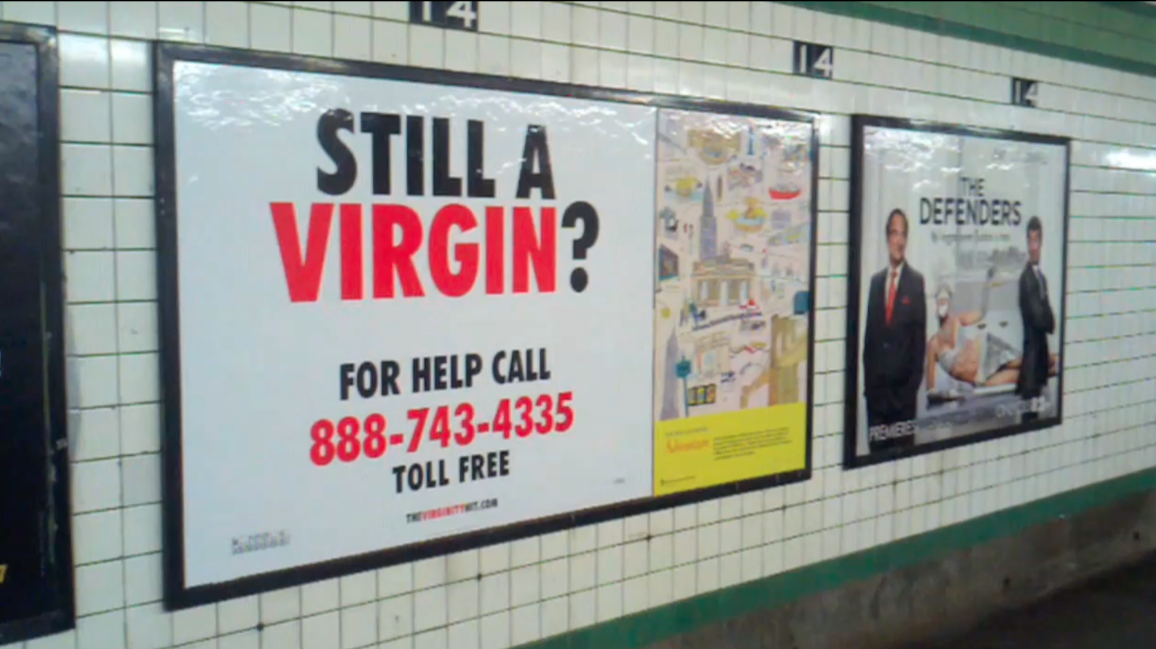 BILLBOARD IN NEW YORK CITY SUBWAY STATION. PHOTO BY THERESE SHECHTER