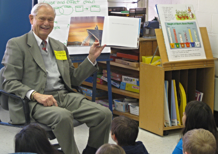 Fred Ulbrich Jr. reading to students at Parker Farms Elementary School in Wallingford, Connecticut.