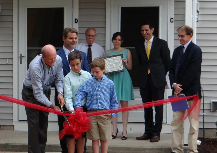 The Ulbrich family opening the Fred Ulbrich Jr. addition to the Columbus House of Wallingford.
