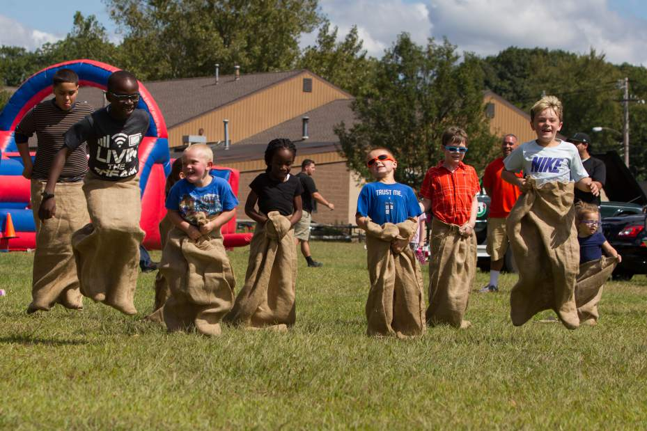 Local kids compete in the sack race at our Wallingford Kids Car Show at PNA Park.