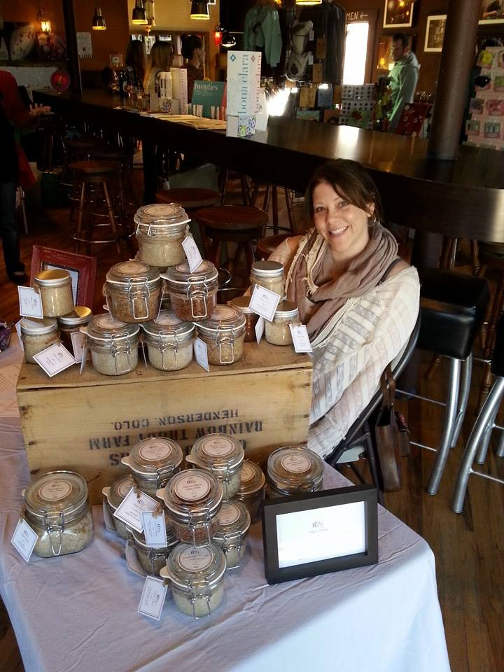 Local 46  Holiday Market - Bonnie with her hand-crafted organic sugar scrubs.